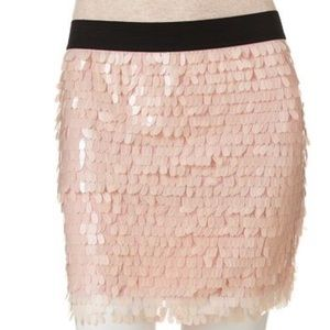 NWT Candies's Pink Feather Sequin mini skirt Sz M